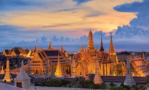 Grand palace at twilight in Bangkok Thailand